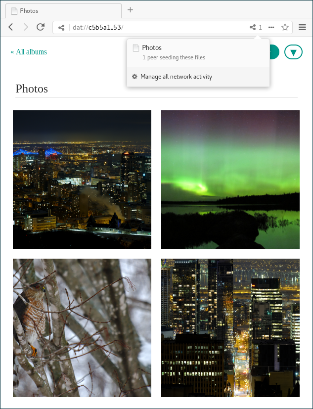 A web browser showing pretty photographs loaded from a dat:// URL